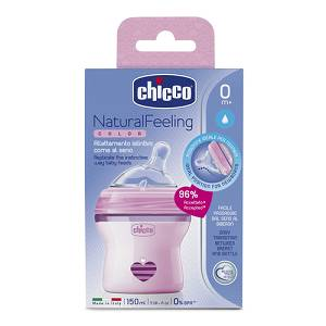 CHICCO BIBERON NATURAL FEELING 0M+ GIRL 150 ML